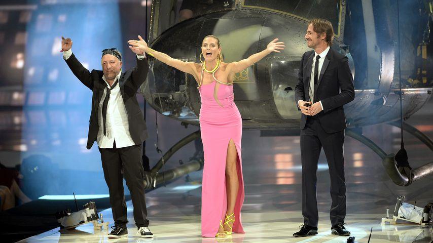 "Heidi Klum, Enrique Badulescu und Thomas Hayo im Mai 2013 bei ""Germany's next Topmodel"""