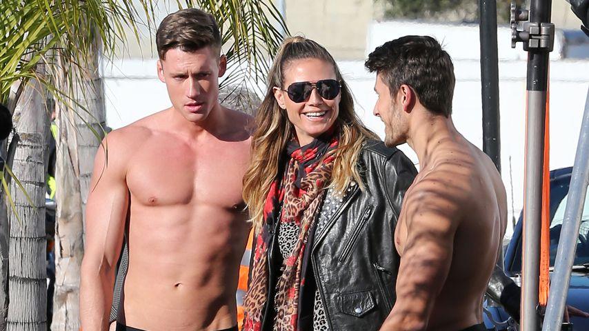 Heidi Klum und zwei Männermodels in Los Angeles