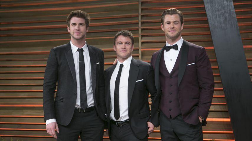 Liam, Luke und Chris Hemsworth bei der Oscar-Party von Vanity Fair, März 2014
