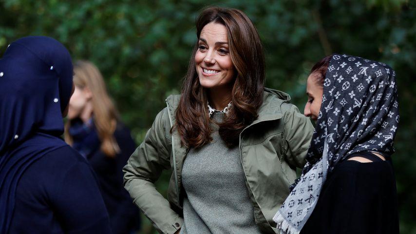 Herzogin Kate bei einem Besuch der Sayers Croft Forest School am 2. Oktober 2018