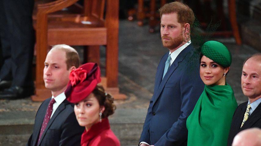 Prinz William und Prinz Harry mit ihren Frauen Kate und Meghan