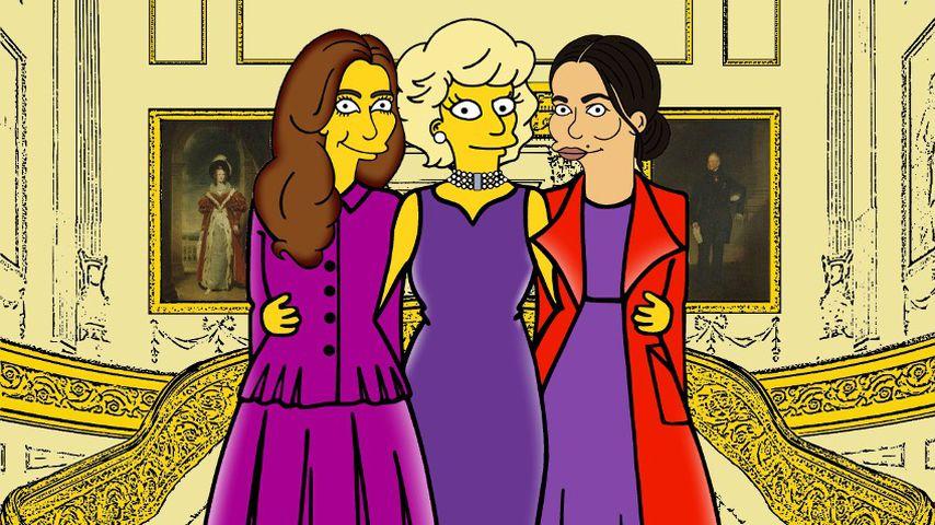 """Herzogin Kate, Prinzessin Diana und Herzogin Meghan als """"Simpsons""""-Charaktere"""
