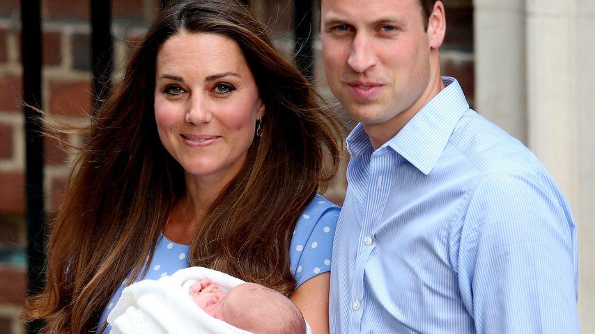Herzogin Kate und Prinz William mit ihrem Sohn Prinz George, Juli 2013