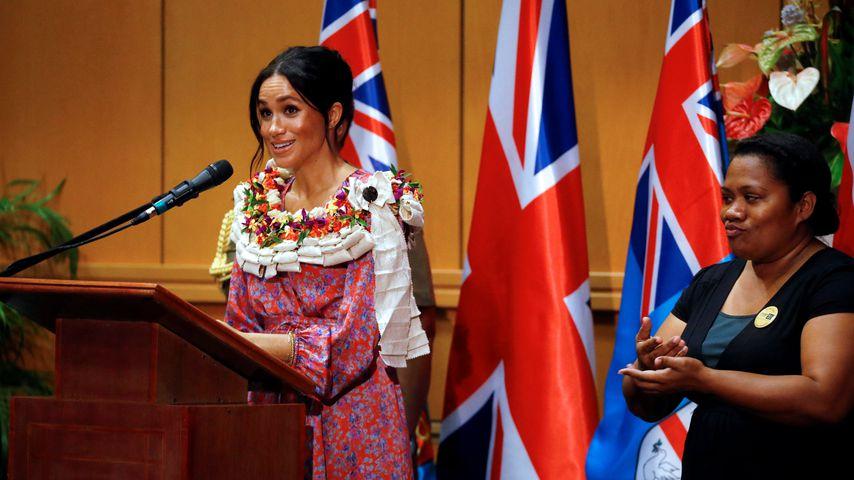 Herzogin Meghan bei ihrer Royal-Rede in Suva 2018