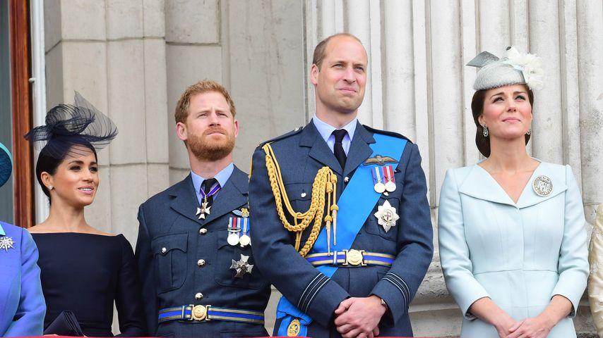 Herzogin Meghan, Prinz Harry, Prinz William und Herzogin Kate im Juli 2018