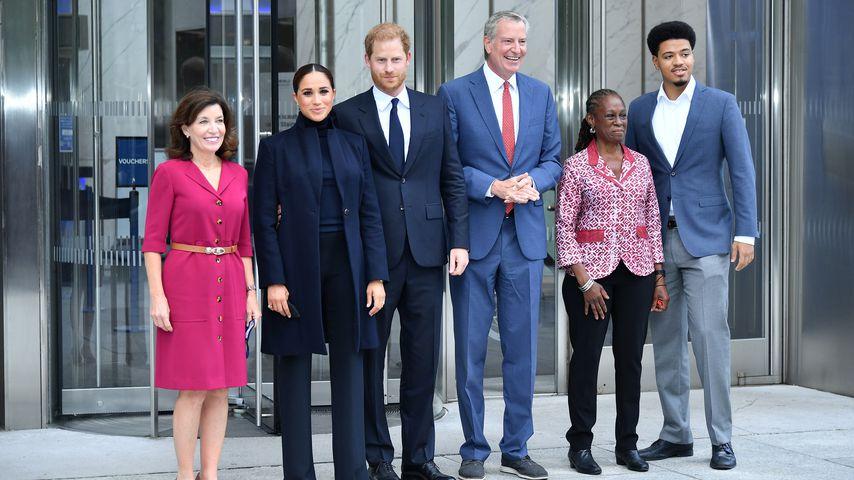 Herzogin Meghan und Prinz Harry vor dem One World Observatory, September 2021