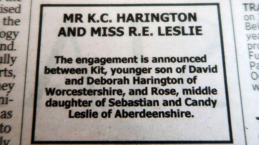 """Hochzeitsanzeige von Kit Harington und Rose Leslie in der Londoner Zeitung """"The Times"""""""