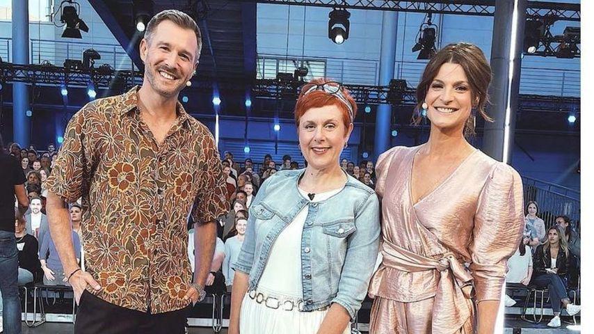 """Iris Abel mit den """"Promi Big Brother""""-Moderatoren Jochen Schropp und Marlene Lufen"""