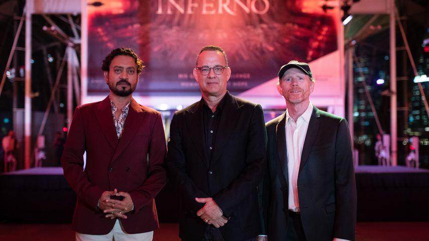 Irrfan Khan, Tom Hanks und Ron Howard im Juni 2016 in Singapur