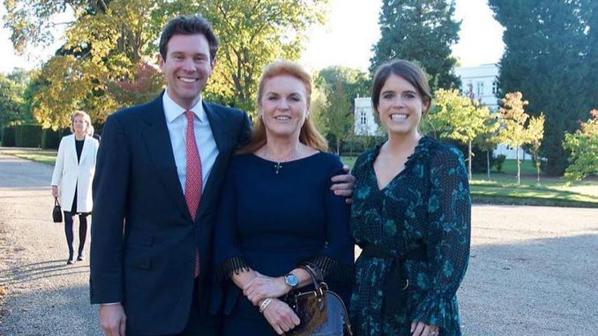 Jack Brooksbank, Sarah Ferguson und Prinzessin Eugenie im März 2020