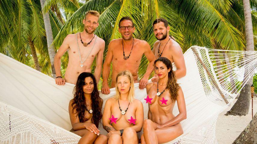 Jacob, Chantel, Leonore Bartsch, Peer Kusmagk, Janina Youssefian und Kushtrim bei Adam sucht Eva