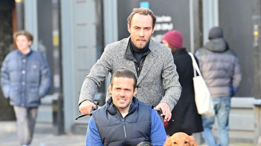 James Middleton mit Spencer Matthews und seinen Hunden in London, Dezember 2019