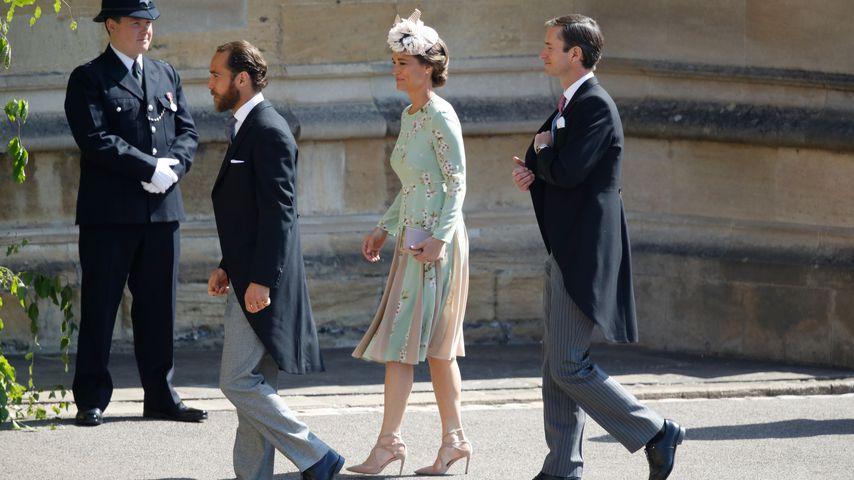 James und Pippa Middleton mit James Matthews an Prinz Harrys und Herzogin Meghans Hochzeit