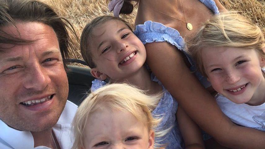 Jamie und Jools Oliver mit ihren Kindern im August 2018
