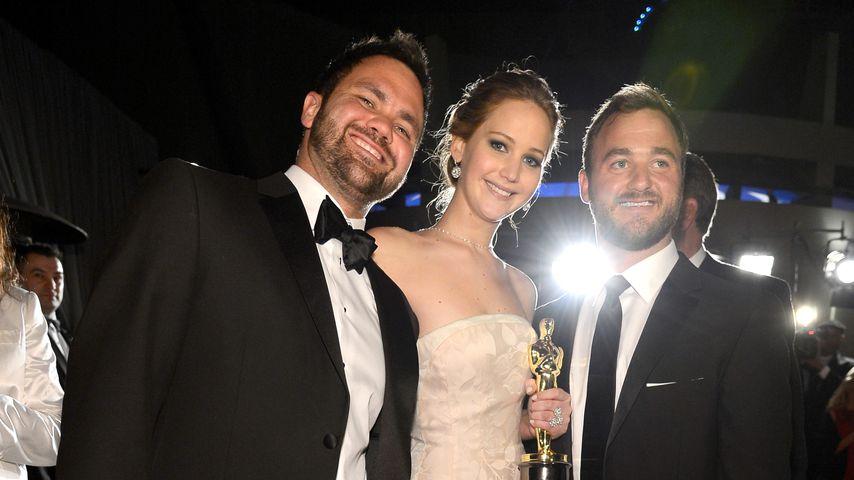 Jennifer Lawrence und ihre beiden Brüder Ben und Blaine bei den Oscars im Februar 2013