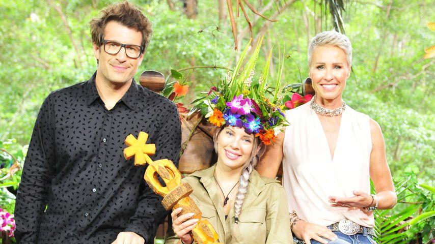 Jenny Frankhauser mit Daniel Hartwich und Sonja Zietlow im Dschungel 2018