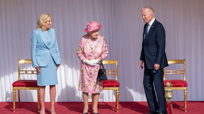 Jill Biden, Queen Elizabeth II. und Joe Biden