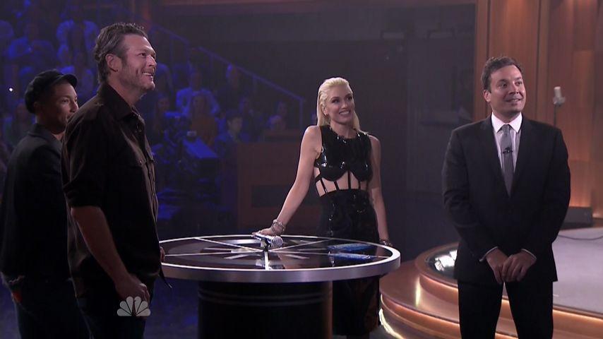 Gwen Stefani, Blake Shelton, Jimmy Fallon und Pharrell Williams