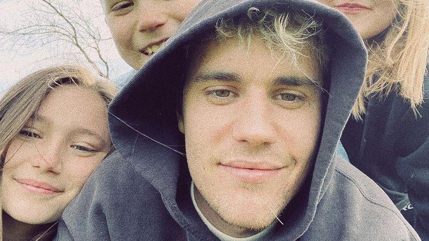 Justin Bieber mit seinen Geschwistern