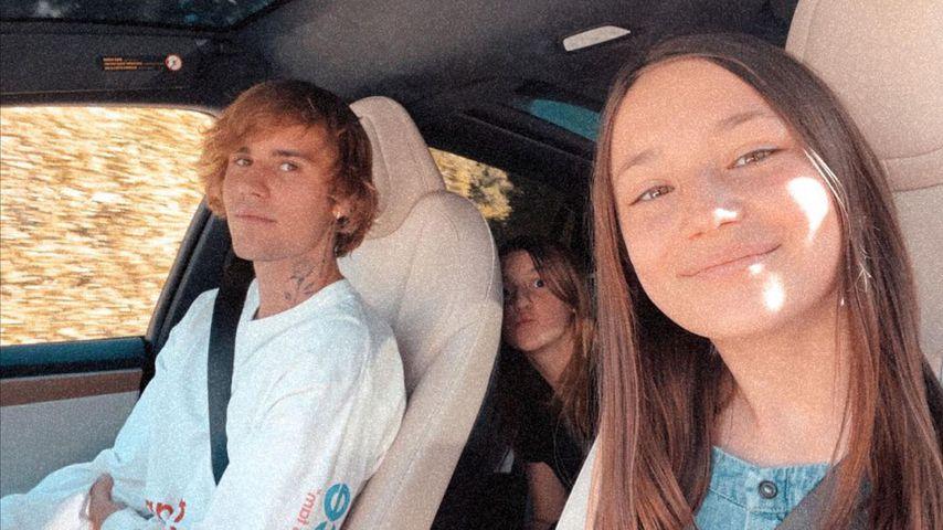 Justin Bieber mit seinen Schwestern Allie und Jazmyn, Januar 2021
