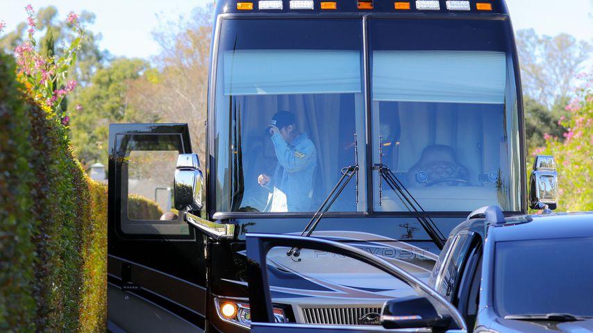 Justin Bieber in seinem Tourbus