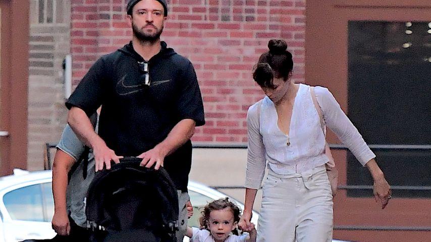 Justin Timberlake mit Silas und Jessica Biel