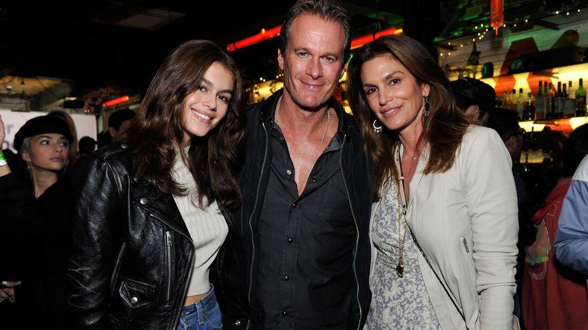 Kaia Gerber mit ihrem Vater Rande Gerber und Mutter Cindy Crawford, März 2018