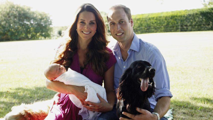 Kate, William und George mit Familienhund Lupo