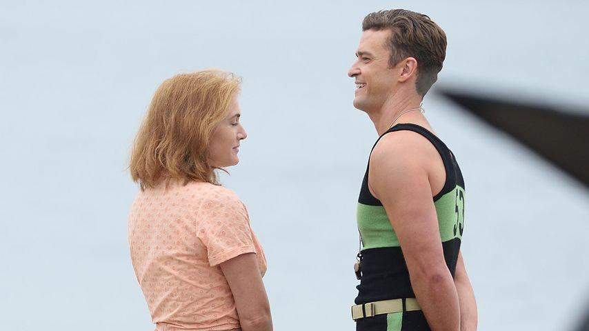 Kate Winslet und Justin Timberlake am Filmset