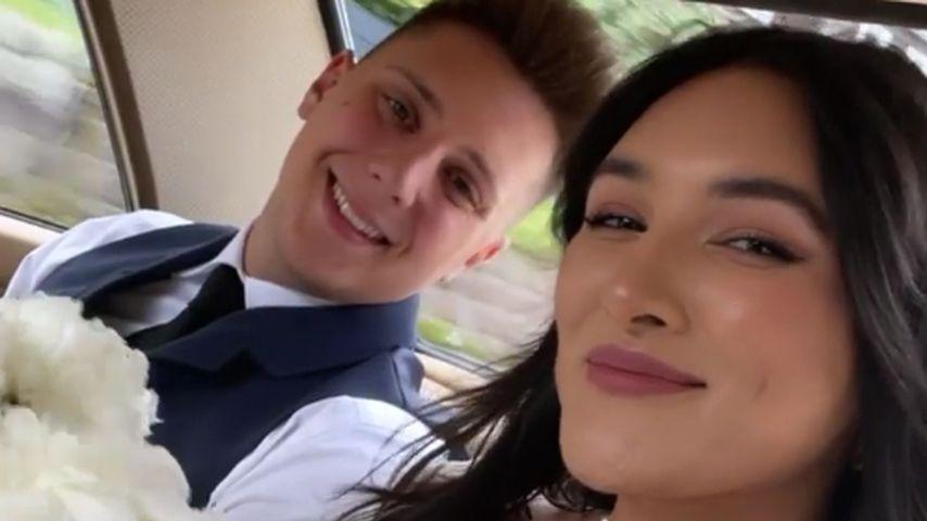 Katharina Damm und ihr Partner Leo bei der Hochzeit