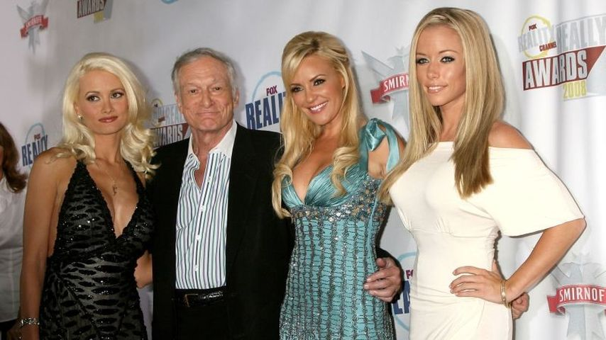 Hugh Hefner, Holly Madison, Kendra Wilkinson und Bridget Marquardt