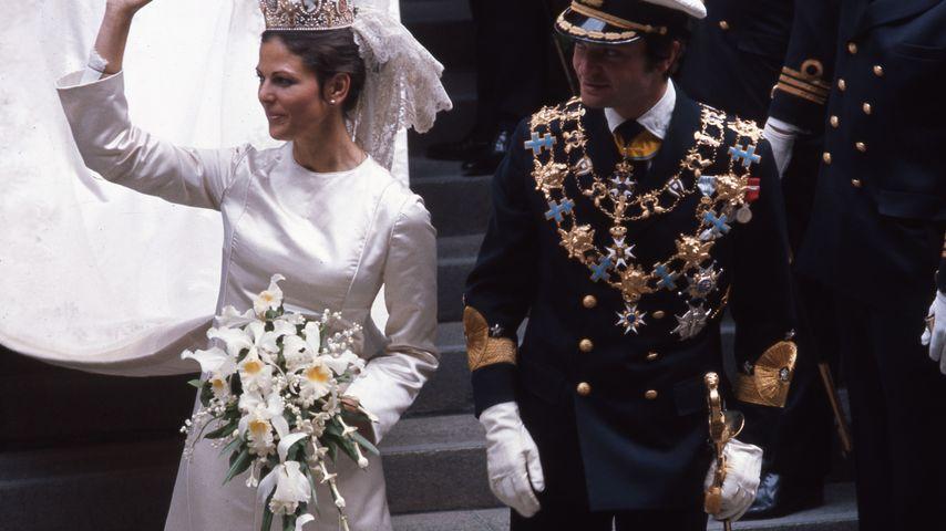 Königin Silvia von Schweden und König Carl Gustaf bei ihrer Hochzeit 1976