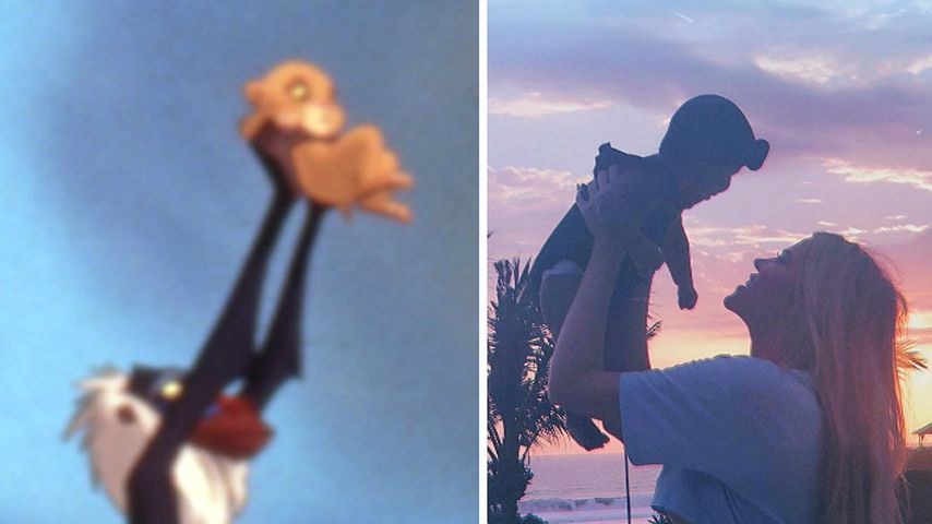 """König der Löwen""-Stil: Khloe K. hält True wie Baby-Simba!"