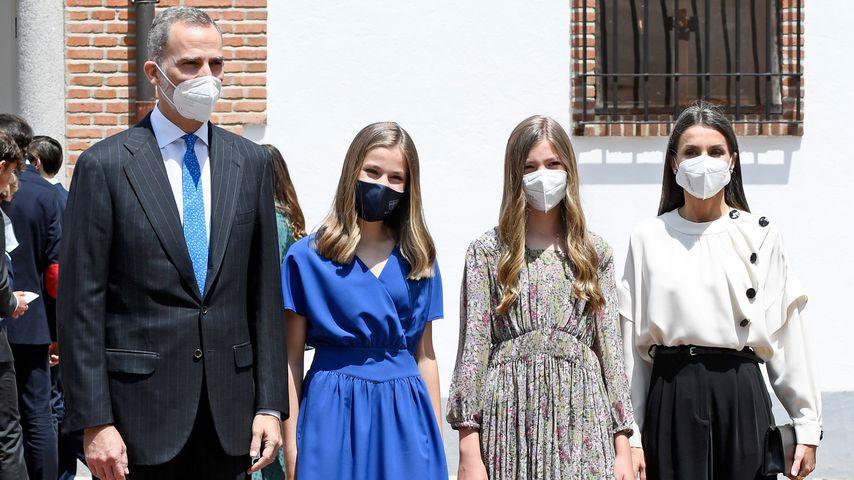 König Felipe von Spanien, Prinzessin Leonor, Prinzessin Sofia und Königin Letizia, 2021