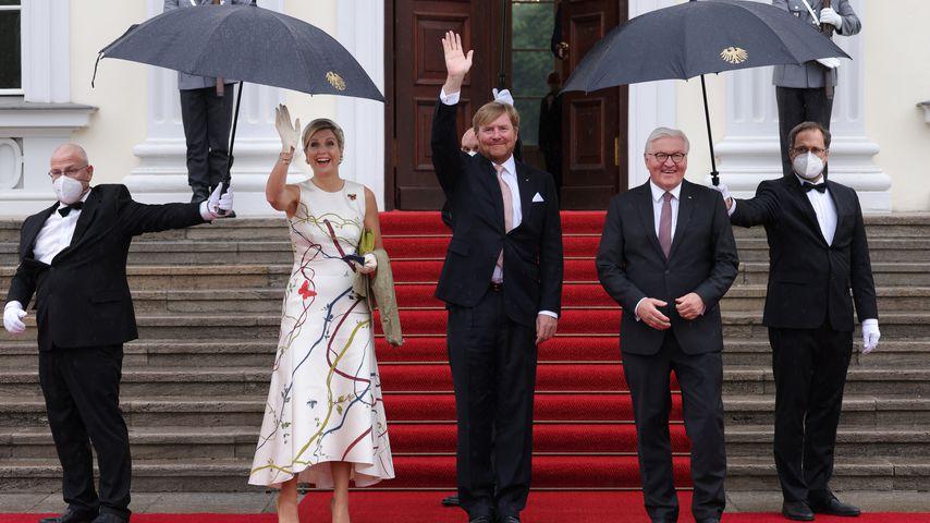 Königin Máxima, König Willem-Alexander und Frank-Walter Steinmeier in Berlin im Juli 2021