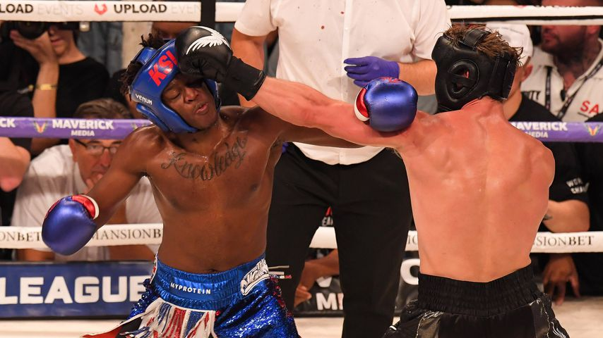 YouTube-Stars KSI und Logan Paul im Boxring in Manchester
