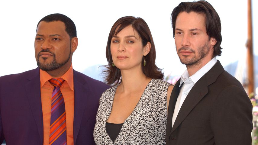 Laurence Fishburne, Carrie-Anne Moss und Keanu Reeves in Cannes 2003