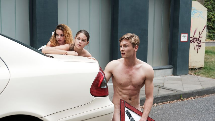 """Leni (Josephine Becker), Conor (Yannik Meyer) und Nika (Isabelle Geiss) bei """"Unter uns"""""""