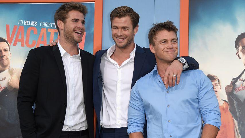 Cooles Trio: Liam & Luke unterstützen Bruder Chris Hemsworth