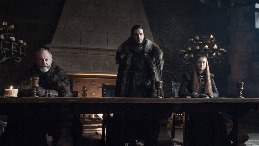 "Liam Cunningham, Kit Harington, Sophie Turner in ""Game of Thrones"", Staffel 7"