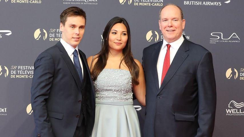 Louis Ducruet mit Marie Chevallier und Prinz Albert II. auf einem Event in Monaco