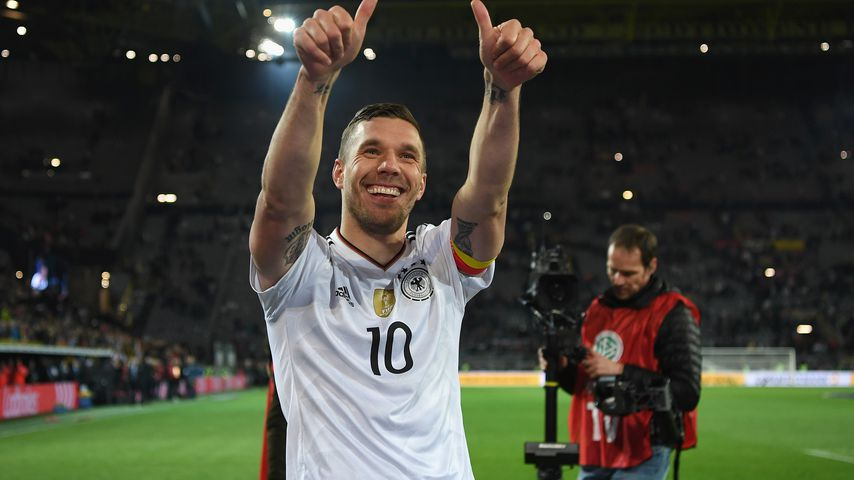 Lukas Podolski bei seinem letzten Länderspiel Deutschland gegen England im März 2017