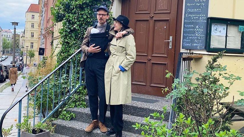 Marie Nasemann mit ihrem Partner Sebastian und dem gemeinsamen Sohn, Mai 2020
