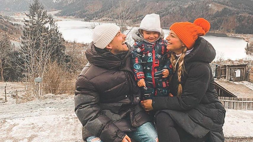 Matthias Höhn mit Freundin Jenefer Riili und dem gemeinsamen Sohn Milan, März 2020