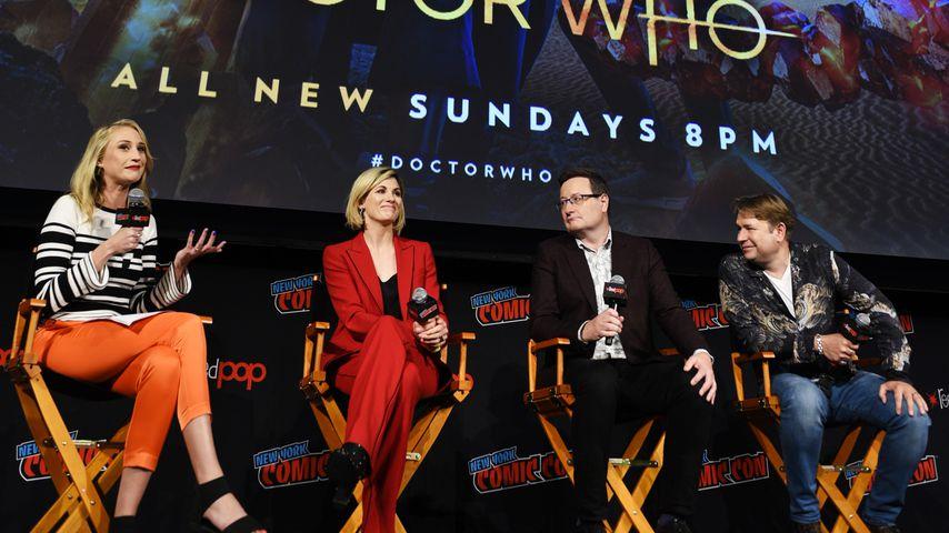 Maude Garrett, Jodie Whittaker, Chris Chibnall und Matt Strevens bei der Comic Con 2018
