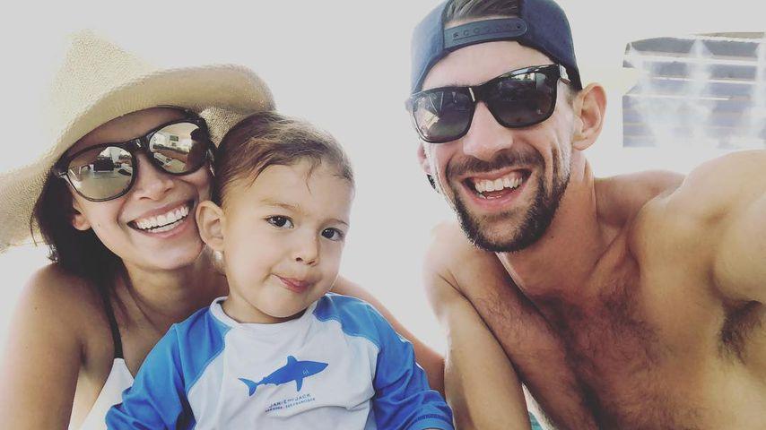 Michael Phelps mit seiner Frau Nicole und Sohn Boomer