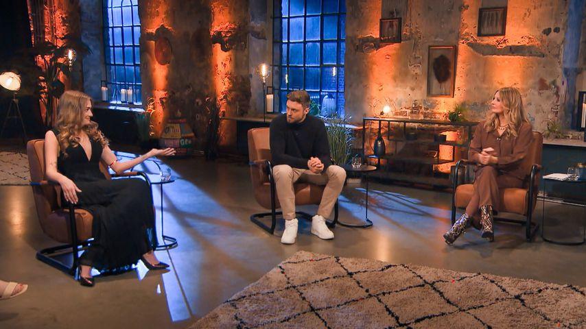 """Michelle Gwozdz, Niko Griesert und Frauke Ludowig bei """"Der Bachelor – Nach der letzten Rose"""""""