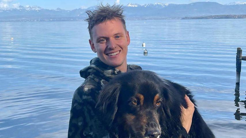 Mick Schumacher und Hündin Angie am Genfer See