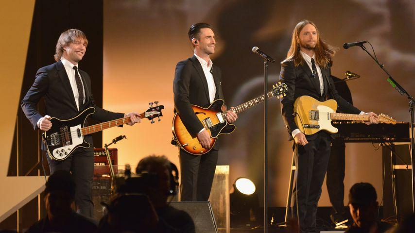Mickey Madden, Adam Levine und James Valentine von Maroon 5 im Jahr 2014