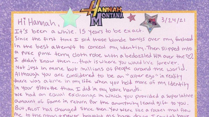 Miley Cyrus' Brief an ihr Alter Ego Hannah Montana